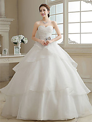 Ball Gown Sweetheart Floor Length Organza Wedding Dress with Flower by Embroidered bridal