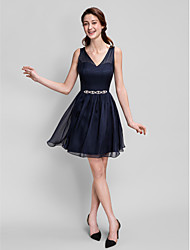 A-Line V-neck Short / Mini Chiffon Bridesmaid Dress with Crystal Detailing by LAN TING BRIDE®