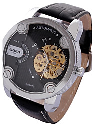 Недорогие -Мужской Спортивные часы Механические, с ручным заводом С двумя часовыми поясами Кожа Группа Черный Красный
