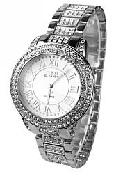 Damen Kleideruhr Imitation Diamant Quartz Legierung Band Glanz Silber
