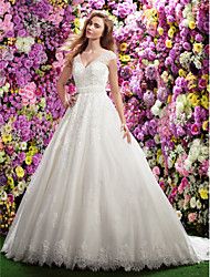 cheap -A-line V-neck Chapel Train Lace Wedding Dress with Beading Appliques Sash / Ribbon by LAN TING BRIDE®