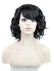 Capless High Quality Fashion Short Curly Synthetic Side Bang Black Wig