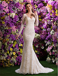 Mermaid / Trumpet V-neck Court Train Lace Wedding Dress with Beading Lace by LAN TING BRIDE®