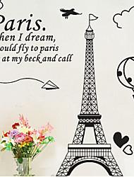 Недорогие -окружающей среды съемный стикер Париж стены PVC