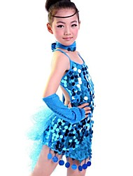 cheap -Latin Dance Dresses Performance Polyester / Lycra Sequin / Tassel Sleeveless Natural
