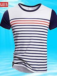 MEN - Tシャツ ( ブルー/ホワイト , コットン ) - カジュアル/大きいサイズ - 縞模様 - 半袖