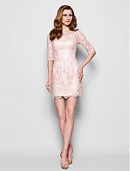 cheap -Sheath / Column Bateau Neck Short / Mini Lace Mother of the Bride Dress 617 Appliques Lace Pleats by LAN TING BRIDE®