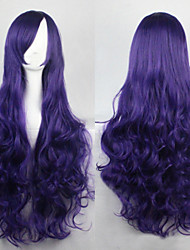 cheap -Synthetic Wig Curly Asymmetrical Haircut Synthetic Hair Natural Hairline Purple Wig Women's Long Capless