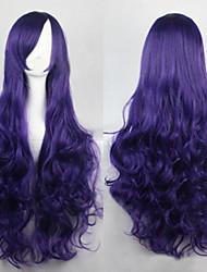 cheap -The new European and American high-temperature  Dark Blue Long Curly Hair Wig80CM