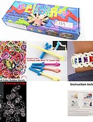 cor do arco-íris kit moda tear para pulseira diy (clips 600pcs bandas + 1 + 1 pacote de bordo tear + 1 gancho)