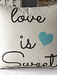 Modern Style Romantic Words Blue Heart Patterned Cotton/Linen Decorative Pillow Cover