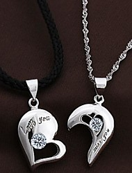 cheap -Couples' Silver Heart Pendants With Cubic Zirconia(2 pcs)