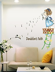 cheap -Wall Stickers Wall Decals, Style Little Girl Blowing A Dandelion PVC Wall Stickers