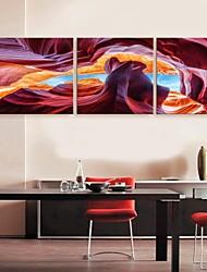 E-Home® Leinwand Kunst abstrakte Landschaft Dekoration Malerei Set von 3