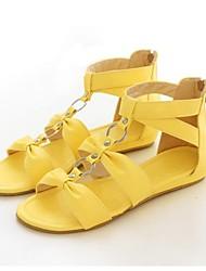 preiswerte -Damen Schuhe Kunstleder Frühling Sommer Flacher Absatz Reißverschluss für Normal Weiß Rot Gelb