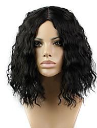 abordables -Perruque Synthétique Bouclé Partie médiane Cheveux Synthétiques Ligne de Cheveux Naturelle Noir Perruque Femme Court / Moyen Sans bonnet