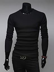 Informell / Business Rund - Langarm - MEN - T-Shirts ( Baumwolle )