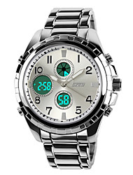 cheap -SKMEI Men's Military Watch Quartz 30 m Water Resistant / Water Proof Alarm Calendar / date / day Stainless Steel Band Analog-Digital Luxury Black / Silver - Black Silver Two Years Battery Life / LCD