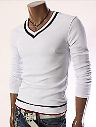 preiswerte -Vintage/Informell/Party/Business Rund - Langarm - MEN - T-Shirts ( Baumwolle/Kunstseide )