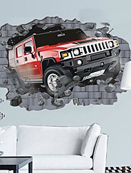 Environmental 3D Car Break Through The Wall Designed Wall Sticker