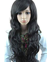 Donna Parrucche sintetiche Lungo Nero Con frangia parrucca nera parrucca del costume costumi parrucche