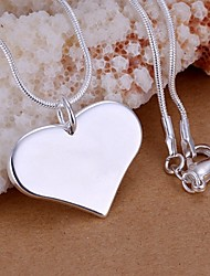 cheap -Women's Heart Shape Love Fashion Pendant Necklace , Sterling Silver Pendant Necklace Wedding Party Daily Casual Costume Jewelry