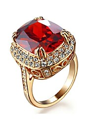 cheap -Big Four Claw Ruby Ring 18K Rose Gold Plated Princess 6ct Cut Zircon Wedding Ring Austrian Crystals