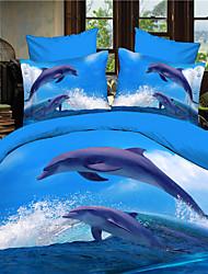 bedtoppings Consolador capa de edredão colcha 4pcs set queen size folha fronha plana 3d padrão aleatório imprime tecido de microfibra