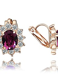 Women's Clip Earrings Costume Jewelry Crystal Zircon Cubic Zirconia Gold Plated Flower Jewelry For Wedding Party Daily Casual