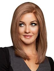 billige -Syntetiske parykker Lige Assymetrisk frisure Syntetisk hår Natural Hairline Brun Paryk Dame Mellemlængde Lågløs