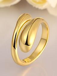 Feminino Maxi anel Ajustável bijuterias Rosa Folheado a Ouro Liga Forma Geométrica Jóias Para Festa