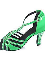 Damen Latin Satin Sandalen Strass Verschlussschnalle Maßgefertigter Absatz Grün Maßfertigung