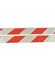 pegatinas coche camión de tipo paralelogramo universales reflectantes (2pcs) - plata&rojo