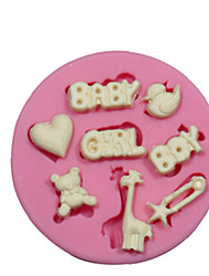 cheap -Baby Boy Themed Silicone Mould Silicone Cake Decorating Mold For Fondant Fimo Chocolate Candy