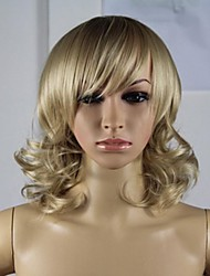cheap -Synthetic Wig Curly Asymmetrical Haircut Synthetic Hair Natural Hairline Blonde Wig Women's Short Capless