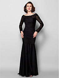 cheap -Sheath / Column Jewel Neck Sweep / Brush Train Lace / Jersey Mother of the Bride Dress with Beading / Lace / Ruched by LAN TING BRIDE® / Beautiful Back