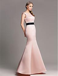cheap -Mermaid / Trumpet Off-the-shoulder Floor Length Satin Bridesmaid Dress with Sash / Ribbon by LAN TING BRIDE®