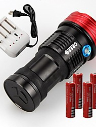 3 LED Flashlights/Torch LED 11000lm Lumens Mode Cree XM-L T6 4 x 18650 Batteries Nonslip grip Rechargeable Waterproof for