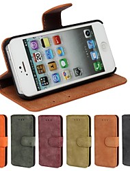 For iPhone 8 iPhone 8 Plus iPhone 5 Case Case Cover Card Holder with Stand Flip Frosted Full Body Case Solid Color Hard PU Leather for