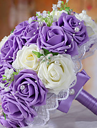 cheap -A Bouquet of 30 PE Simulation Roses Wedding Bouquet Wedding Bride Holding Flowers,Purple and White