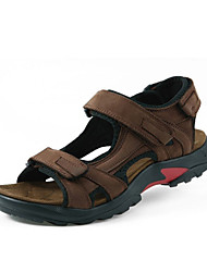 Men's Sandals Summer Open Toe / Sandals Leather Casual Flat Heel  Brown / Khaki Walking