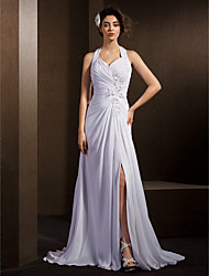 A-Line Halter Court Train Chiffon Wedding Dress with Beading Appliques Bow Criss-Cross Ruche by LAN TING BRIDE®