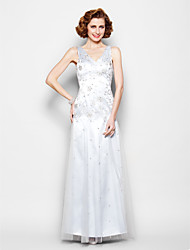 cheap -Sheath / Column V-neck Floor Length Lace Tulle Mother of the Bride Dress with Beading Lace by LAN TING BRIDE®