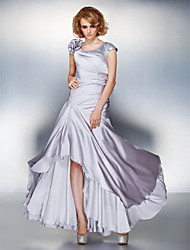 cheap -A-Line Scoop Neck Asymmetrical Satin Chiffon Mother of the Bride Dress with Sequin Flower Side Draping by LAN TING BRIDE®
