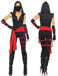 billige -Ninja Zentai Dragt Film Cosplay Sort Bandage Top Bukser Bælte Maske Halloween Nytår Spandex Bomuld
