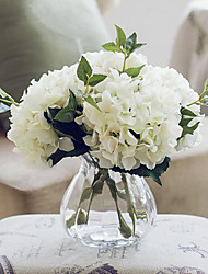 California Five White Hydrangeas Artificial Flowers With Vase