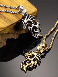 Homens Colares com Pendentes Aço Titânio Chapeado Dourado 18K ouro Prata Dourado Jóias Para Casamento Festa Diário Casual Esportes 1peça