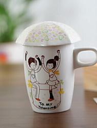 cheap -Creative Love Story Ceramic Mug with Cover Pattern Random