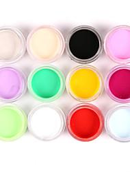 cheap -12PCS Mixed Colors Nail Art Acrylic Paint Powder Nail Sculpting Carving UV Painting Dust for Salon Nail Decorations