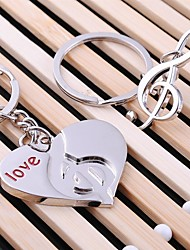 cheap -Alloy Silver Plated Heart Music Keychain Key Ring for Lover Valentine's Day(One Pair)